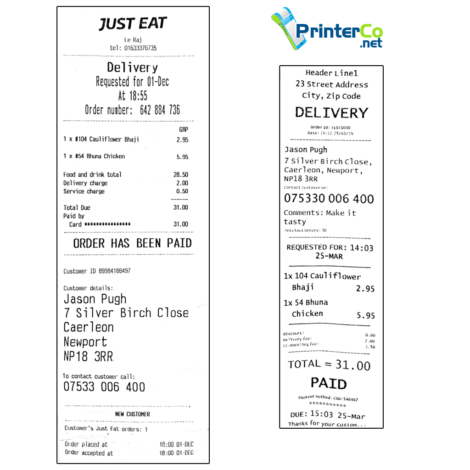 Receipt - PrinterCo vs JustEat